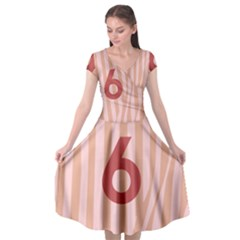 Number 6 Line Vertical Red Pink Wave Chevron Cap Sleeve Wrap Front Dress