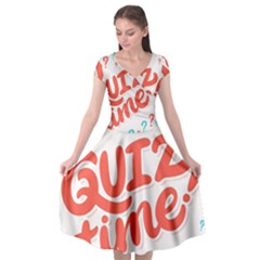 Question Mark Quiz Time Cap Sleeve Wrap Front Dress