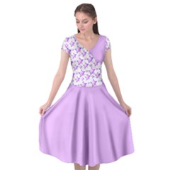 Pink And Violet Stars Cap Sleeve Wrap Front Dress