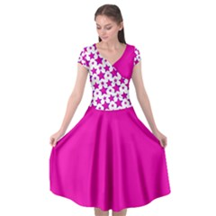 Cerise Pink And Purple Stars Cap Sleeve Wrap Front Dress