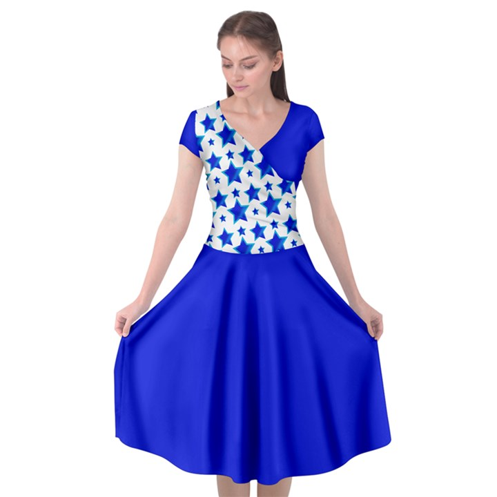 Royal Blue Stars Cap Sleeve Wrap Front Dress