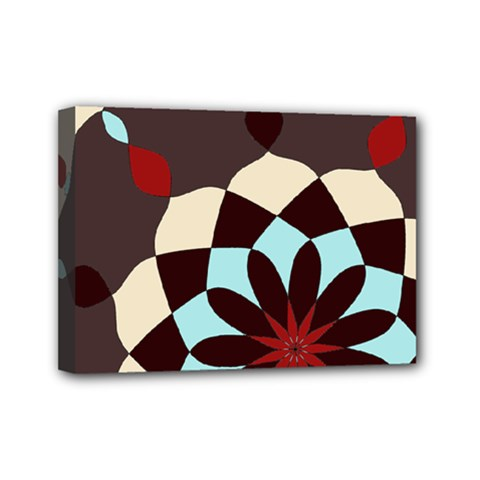 Red And Black Flower Pattern Mini Canvas 7  X 5