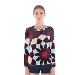 Red And Black Flower Pattern Women s Long Sleeve Tee