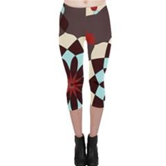 Red And Black Flower Pattern Capri Leggings