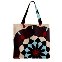 Red And Black Flower Pattern Zipper Grocery Tote Bag