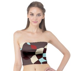 Red And Black Flower Pattern Tube Top