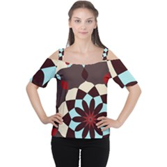 Red And Black Flower Pattern Women s Cutout Shoulder Tee