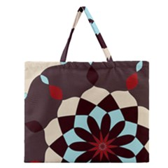 Red And Black Flower Pattern Zipper Large Tote Bag