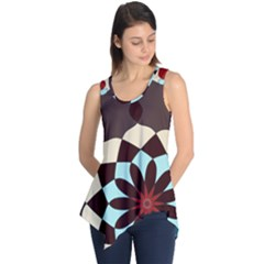Red And Black Flower Pattern Sleeveless Tunic