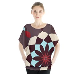 Red And Black Flower Pattern Blouse