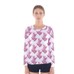 Colorful Cute Floral Design Pattern Women s Long Sleeve Tee