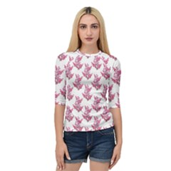 Colorful Cute Floral Design Pattern Quarter Sleeve Tee