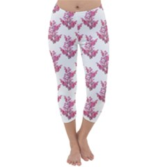 Colorful Cute Floral Design Pattern Capri Winter Leggings