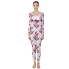 Colorful Cute Floral Design Pattern Long Sleeve Catsuit
