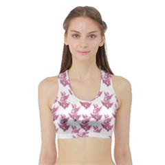 Colorful Cute Floral Design Pattern Sports Bra with Border