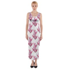 Colorful Cute Floral Design Pattern Fitted Maxi Dress