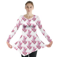 Colorful Cute Floral Design Pattern Long Sleeve Tunic