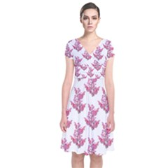 Colorful Cute Floral Design Pattern Short Sleeve Front Wrap Dress
