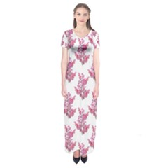Colorful Cute Floral Design Pattern Short Sleeve Maxi Dress