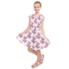 Colorful Cute Floral Design Pattern Kids  Short Sleeve Dress