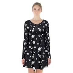Space Pattern Long Sleeve Velvet V Neck Dress