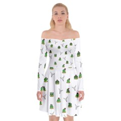Cactus Pattern Off Shoulder Skater Dress