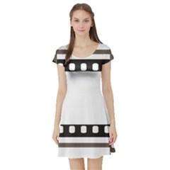 Frame Decorative Movie Cinema Short Sleeve Skater Dress
