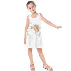 Sweet Dreams Angel Baby Cartoon Kids  Sleeveless Dress