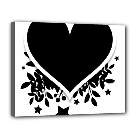 Silhouette Heart Black Design Canvas 14  X 11