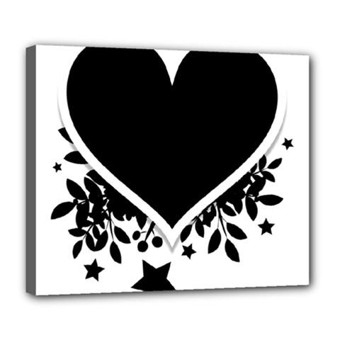 Silhouette Heart Black Design Deluxe Canvas 24  X 20