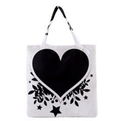 Silhouette Heart Black Design Grocery Tote Bag
