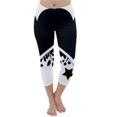 Silhouette Heart Black Design Capri Winter Leggings