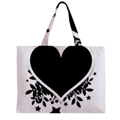 Silhouette Heart Black Design Zipper Mini Tote Bag