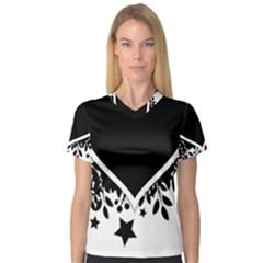 Silhouette Heart Black Design Women s V Neck Sport Mesh Tee