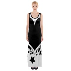 Silhouette Heart Black Design Maxi Thigh Split Dress