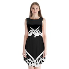 Silhouette Heart Black Design Sleeveless Chiffon Dress