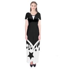 Silhouette Heart Black Design Short Sleeve Maxi Dress