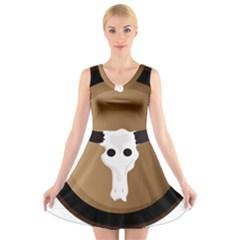 Logo The Cow Animals V Neck Sleeveless Skater Dress