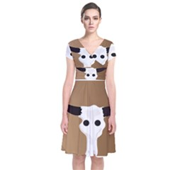 Logo The Cow Animals Short Sleeve Front Wrap Dress