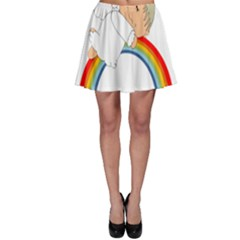 Angel Rainbow Cute Cartoon Angelic Skater Skirt