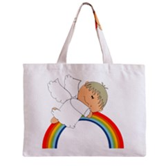 Angel Rainbow Cute Cartoon Angelic Zipper Mini Tote Bag
