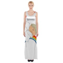 Angel Rainbow Cute Cartoon Angelic Maxi Thigh Split Dress