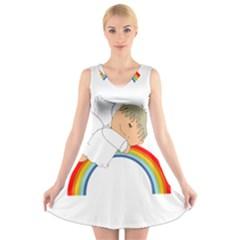 Angel Rainbow Cute Cartoon Angelic V Neck Sleeveless Skater Dress