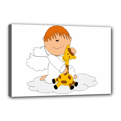 Pet Giraffe Angel Cute Boy Canvas 18  X 12