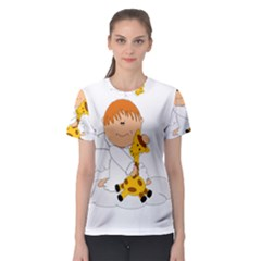 Pet Giraffe Angel Cute Boy Women s Sport Mesh Tee