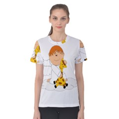 Pet Giraffe Angel Cute Boy Women s Cotton Tee
