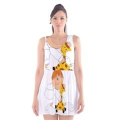 Pet Giraffe Angel Cute Boy Scoop Neck Skater Dress