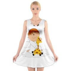 Pet Giraffe Angel Cute Boy V Neck Sleeveless Skater Dress
