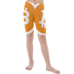 Bitcoin Cryptocurrency Currency Kids  Mid Length Swim Shorts
