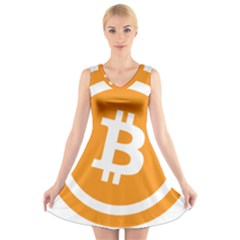 Bitcoin Cryptocurrency Currency V Neck Sleeveless Skater Dress